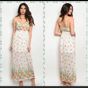 Oboe Rose Floral Maxi, NWOT, Small